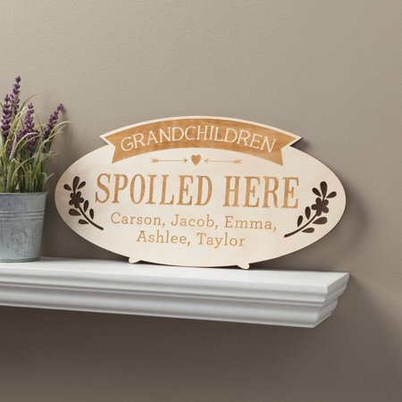 Grandchildren Spoiled Here Personalized Wood Plaque With Kids Names Ceramic Name Plaque