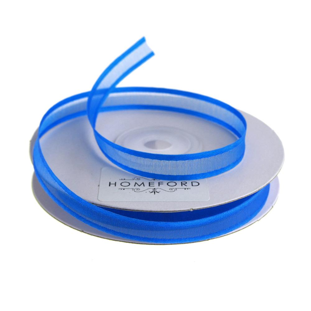 Satin-Edge Sheer Organza Ribbon, 3/8-Inch, 25 Yards, Royal Blue