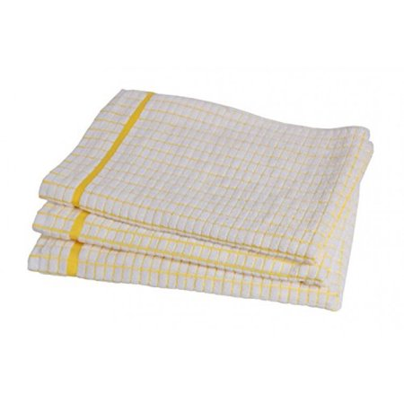 Poli-Dri 100% Cotton Dish Towels (3 Pack) - Grade Absorbent White Kitchen  Towels Check Design (Yellow)