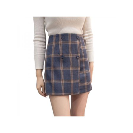 Topumt Women Sexy Plaid Print High Waist A Line Mini Casual Skirt Dress (Plaid Mini Skirt Sexy)