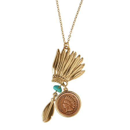 Traditional Indian Gold Jewelry - Indian Head Penny Headdress Charm Coin Necklace With Turquoise Stone