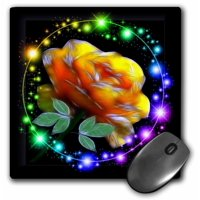 3dRose Yellow Rose With Glitter, Mouse Pad, 8 by 8 inches