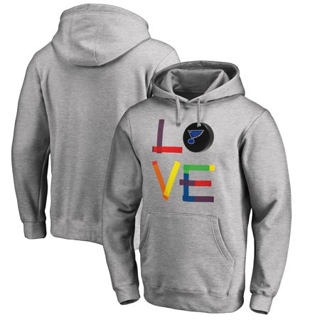 St. Louis Blues Fanatics Branded Hockey Is For Everyone Love Square Pullover Hoodie - Heather (Hockey Logo Hoodie Sweatshirt)
