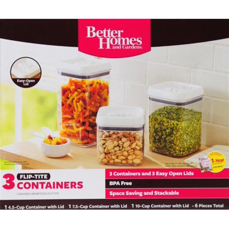 Better Homes and Garden Flip Tite 3-Piece Storage Set, Clear