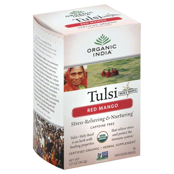 Organic India Tulsi Tea Red Mango, 18 Count []