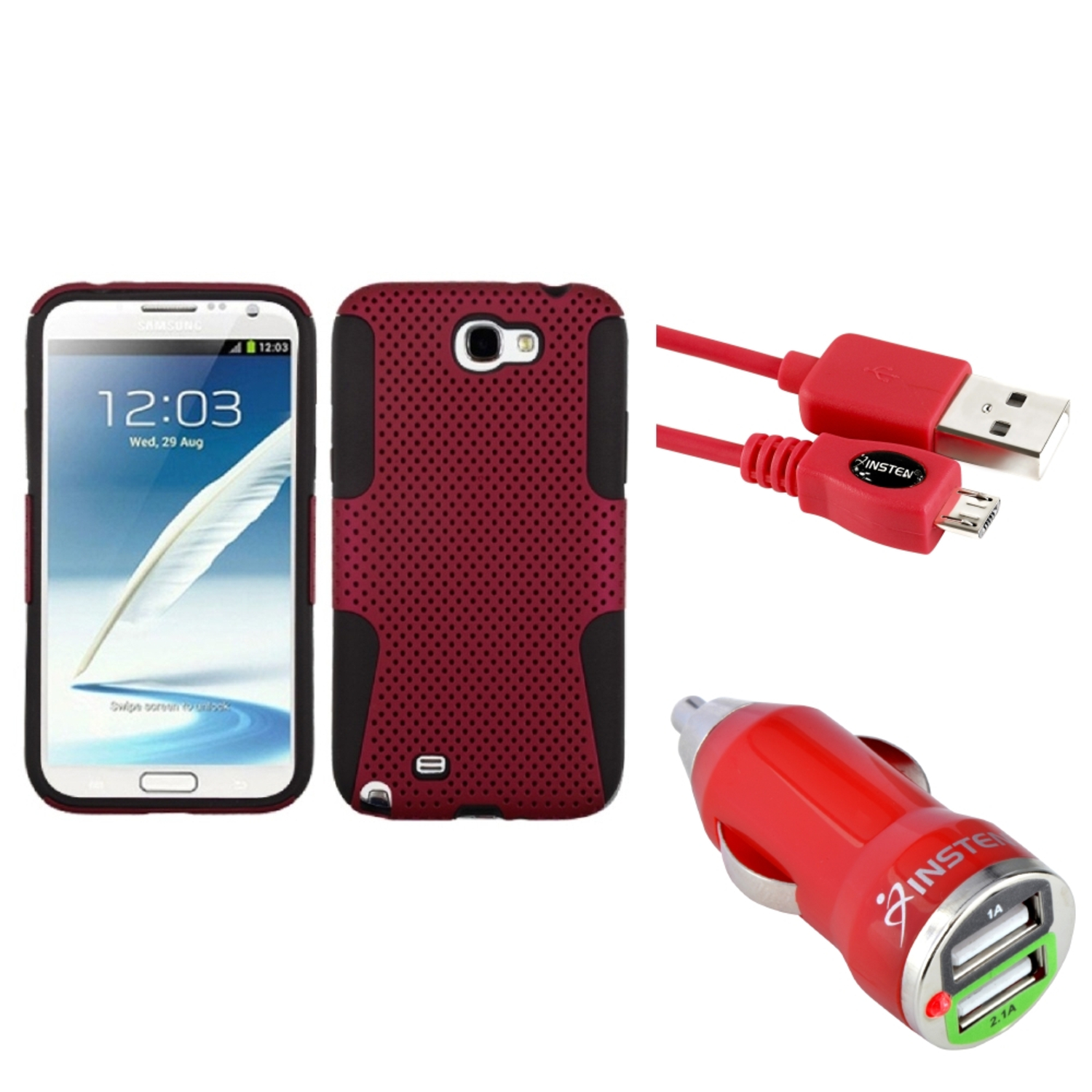 Insten Black/Red Hybrid Case+3FT Cable+Dual USB Charger For Samsung Galaxy Note 2