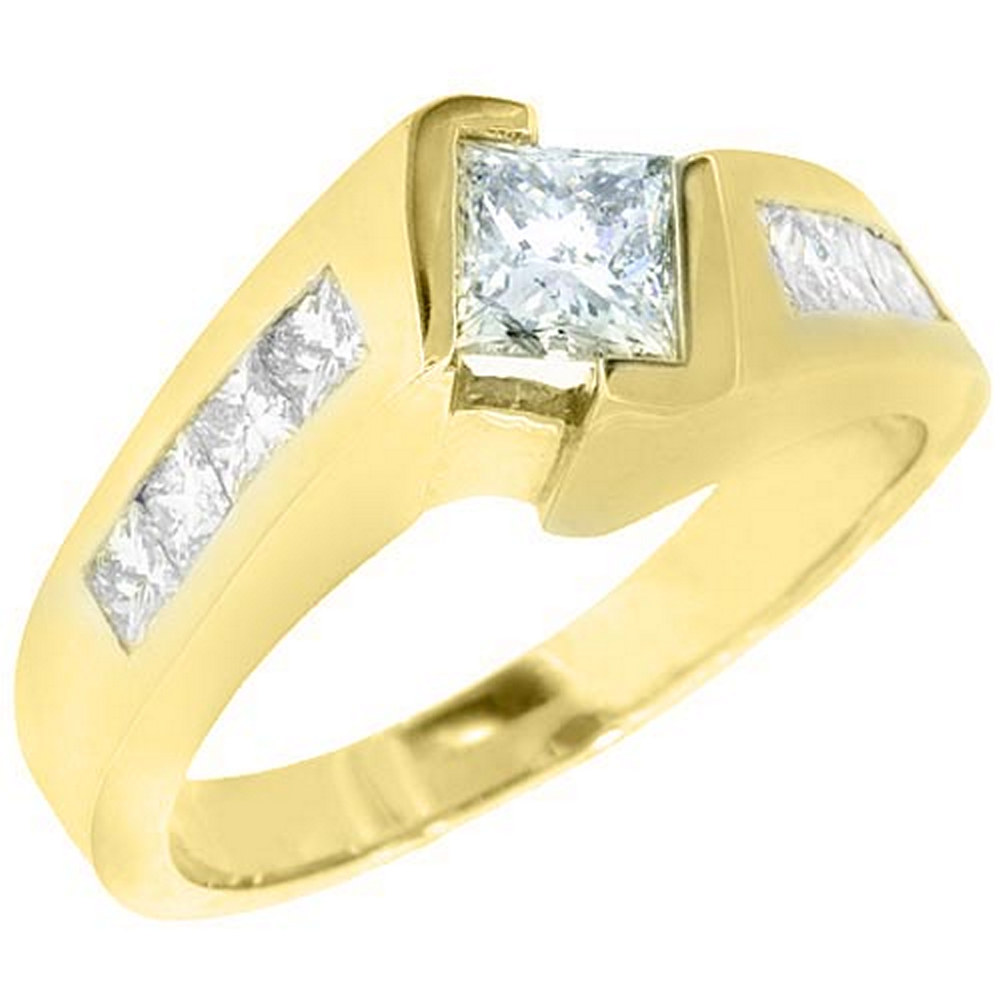 14k Yellow Gold 1.75 Carats Princess Cut Tension Set Diamond Engagement Ring