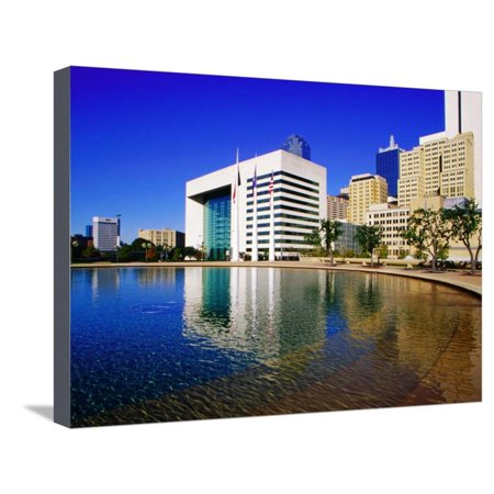 Skyline and City Hall Plaza Pool, Dallas, Texas Stretched Canvas Print Wall Art By Richard Cummins - Pool City Cranberry