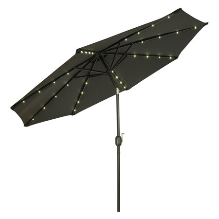 Deluxe Solar Powered LED Lighted Patio Umbrella - 9' - By Trademark Innovations (Black) ()