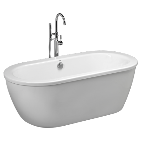 American Standard Cadet 5.5 ft. Acrylic Flatbottom Freestanding Bathtub in Artic White with Polished Chrome Drain and Filler American Standard Acrylic Oval Tub
