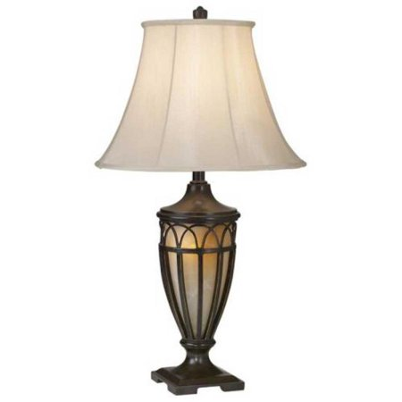 Pacific Coast Lighting 87-1255-20 Lexington 1-Light Table Lamp, Florida Bronze with Gold Finish with Beige Silk Fabric Shade