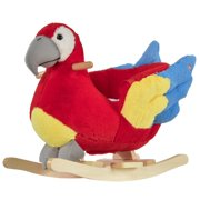 Kids Ride-On Rocking Horse Toy Parrot Style Rocker with Fun Music & Soft Plush Fabric for Children 18-36 Months