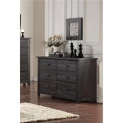 Inroom Furniture Designs B195-261 Wood 6 Drawer Kids Bedroom Double Dresser - Rustic