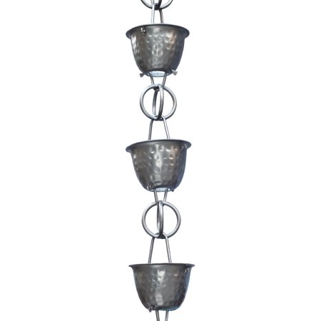 Monarch Aluminum Hammered Cup Rain Chain 8-1/2 Feet Length (Pewter Bronze)