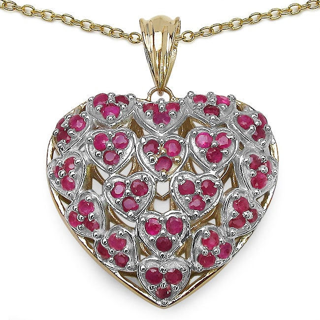 Malaika  Gold over Silver 2 1/6ct TGW Ruby Heart Necklace