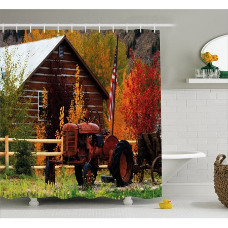 Fall Shower Curtain, Rustic Cabin with Rusty Tractor Country Cottage House Seasonal Colors US Flag Loyalty, Fabric Bathroom Set with Hooks, Multicolor, by - Rustic Showers