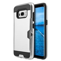 Premium Slim Armor Samsung Galaxy S8 Plus Case with Slim Dual Layer Wallet Design and Card Slot Holder for Galaxy S8+ Plus - Black/ Silver