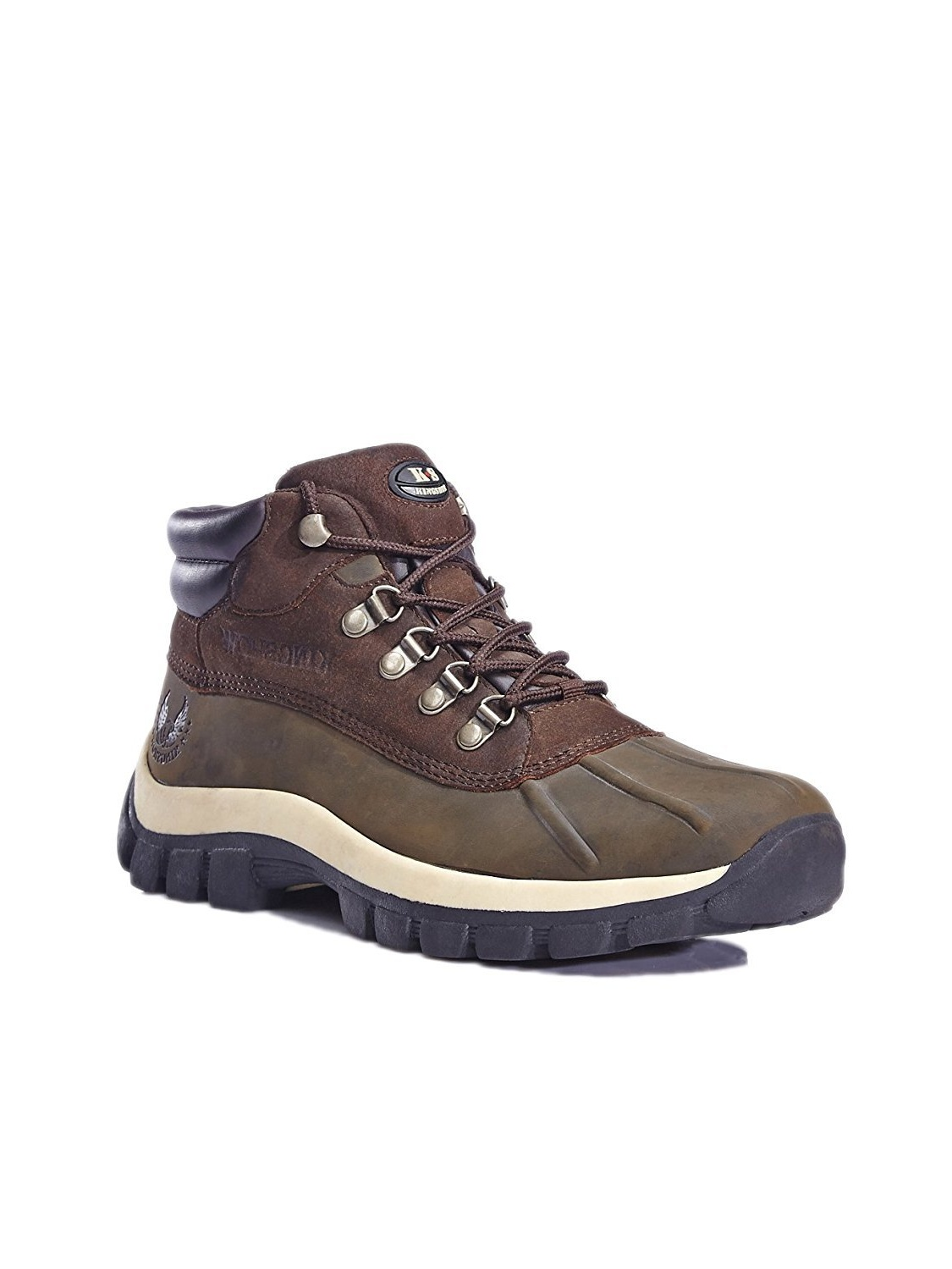 KINGSHOW Mens M0705 Water Resistance Leather Rubber Sole Winter Snow Boots Black 1428-2 / 8 D(M) US
