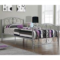 Kingfisher Lane Twin Metal Bed Frame in Silver
