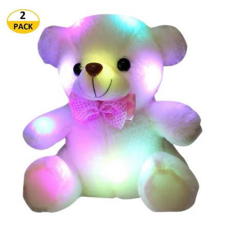 2PCS Glow Teddy Bear Stuffed Animal Bear Plush Toy, Nice Gift for Boys Girls Halloween Christmas,8-Inch