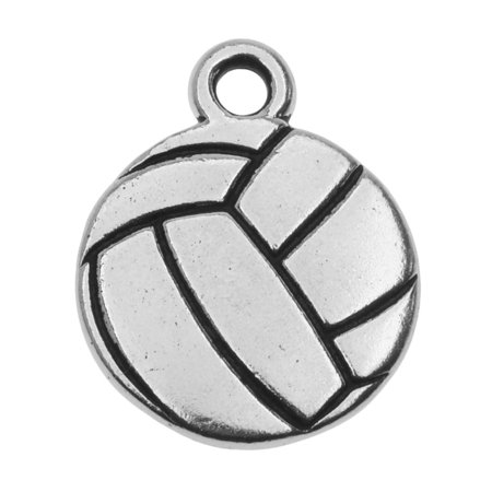 TierraCast Pewter Charm, 2-Sided Volleyball 19x15.4mm, 1 Piece, Antiqued Silver Plated
