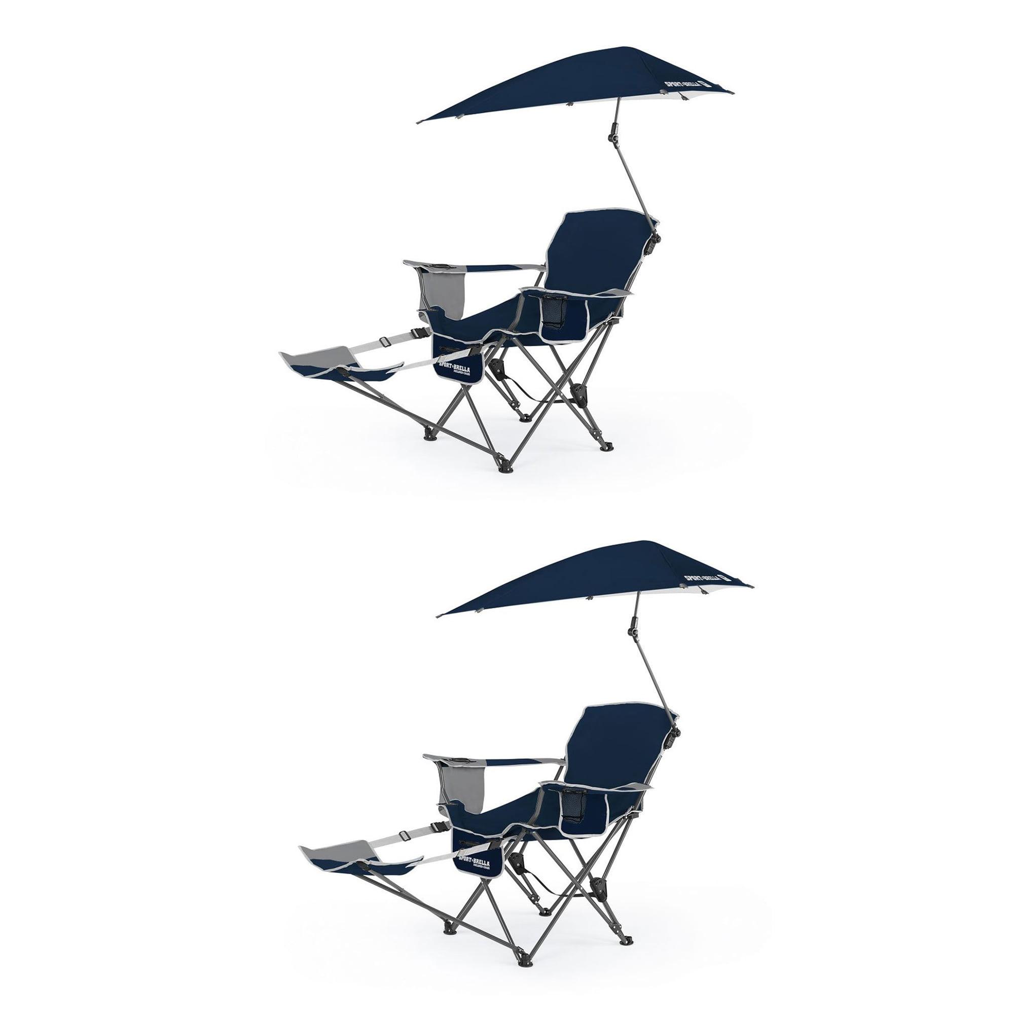Sport Brella Portable Sun Shelter Umbrella Recliner Folding Chair, Blue (2 Pack) by Sport-Brella