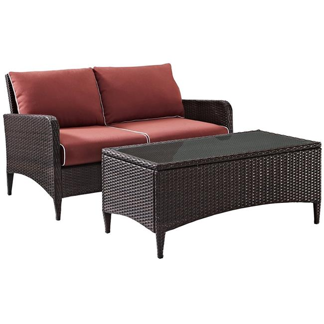 Kiawah 2-Piece Outdoor Wicker Conversation Set with Sangria Cushions - Brown