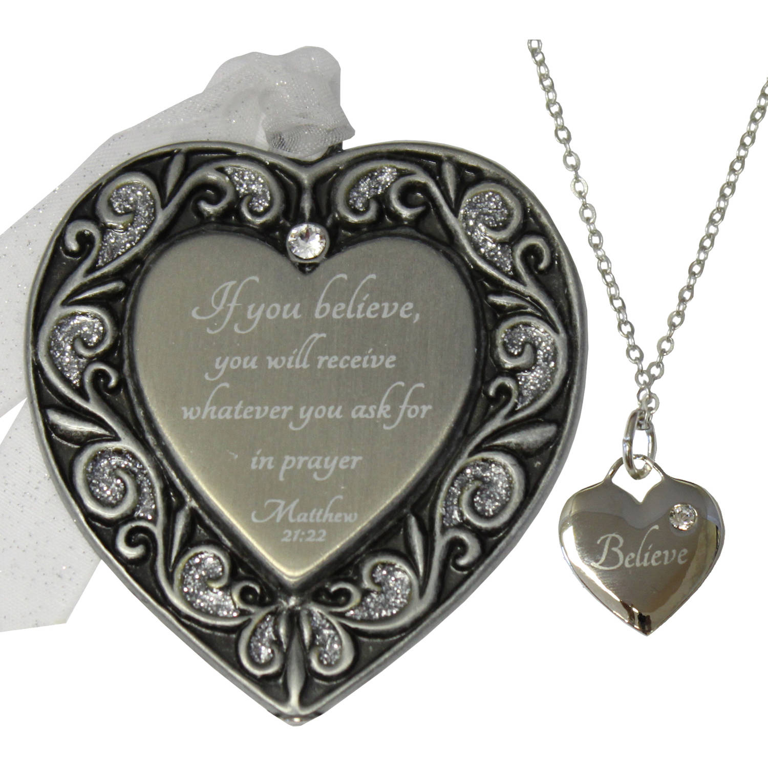 Gloria Duchin Believe Ornament and Necklace Set