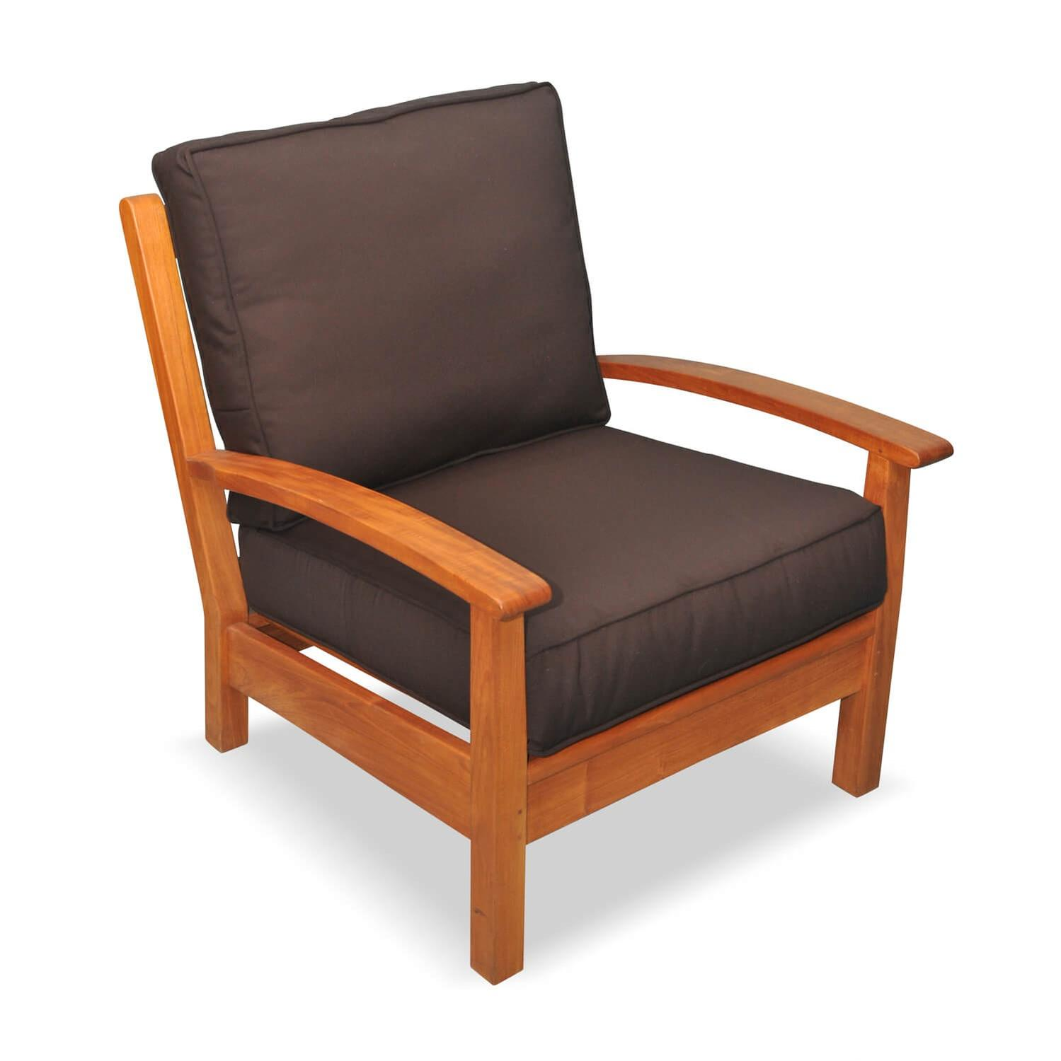 "34"" Natural Teak Deep Seating Outdoor Patio Lounge Chair with Brown Cushions"