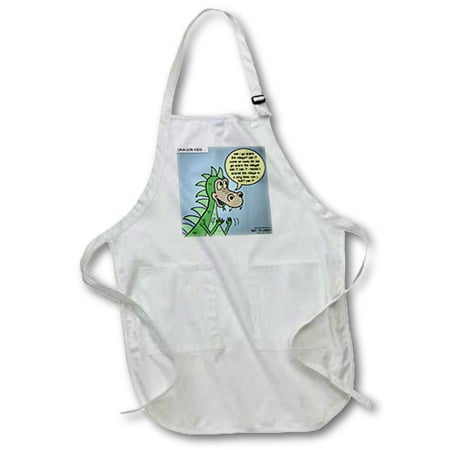 3dRose Dragon Kids, Full Length Apron, 22 by 30-inch, White, With Pockets