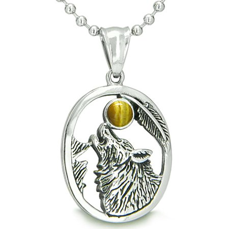 (Amulet Courage Howling Wolf Tiger Eye Moon Pendant 22 Inch Necklace)