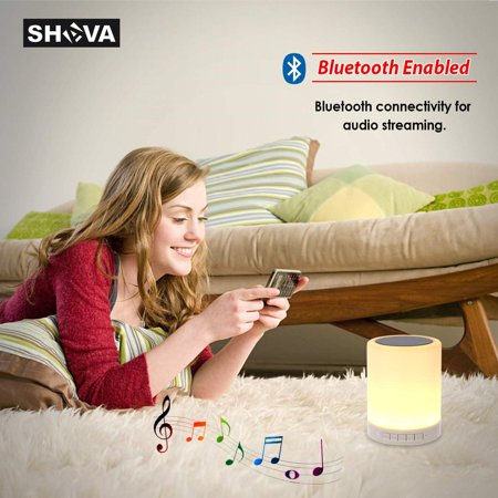 Night Light Bluetooth Speaker, Portable Wireless Bluetooth Speakers with Touch Control 7 Color LED Table Light and Speakerphone/TF Card/AUX-in Supported - image 11 of 13