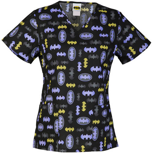 DC Comics Women's Fashion Collection Print Don't Mesh with Batgirl V-Neck Scrub Top