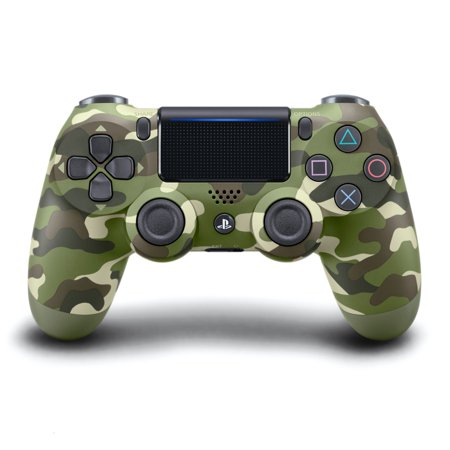 Dual Shock Black Wireless Controller (Sony PlayStation 4 DualShock 4 Controller, Green Camo, 711719504351 )