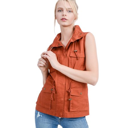 Women's Sleeveless Hooded Anorak Cotton Cargo Utility Vest (Large, Rust) (Hooded Cargo Jacket)