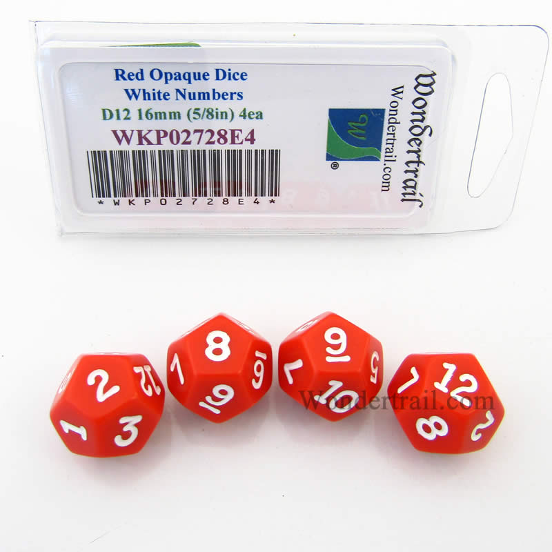 Red Opaque Dice with White Numbers D12 16mm (5/8in) Pack of 4 Wondertrail