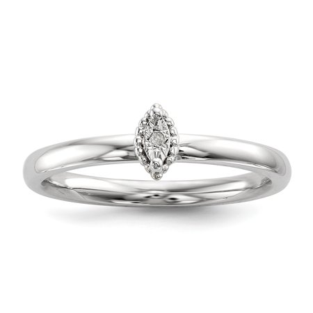 Sterling Silver Polished .01ct. Diamond Marquise Shape Ring Size 6 (Marque Diamond Ring)