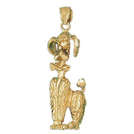 14K Yellow Gold Poodle Dog Pendant - 49 mm