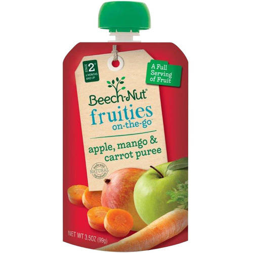 Beech-Nut Fruities on-the-Go Apple, Mango & Carrot Puree Baby Food, 3.5 oz, (Pack of 12)