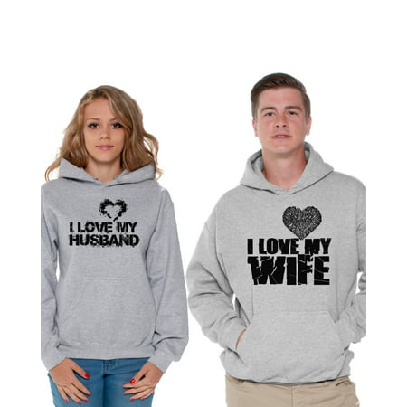 the best attitude cc128 cd3a3 Awkward Styles Couple Hoodies I Love My Husband Sweatshirt I Love My Wife  Sweater Matching Husband
