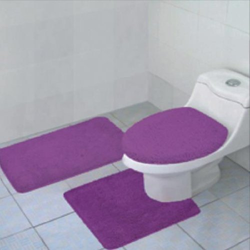 Click here to buy 3-Piece Quinn Solid Bathroom Rug Set Bath Mat Contour & Toilet Lid Cover Purple.