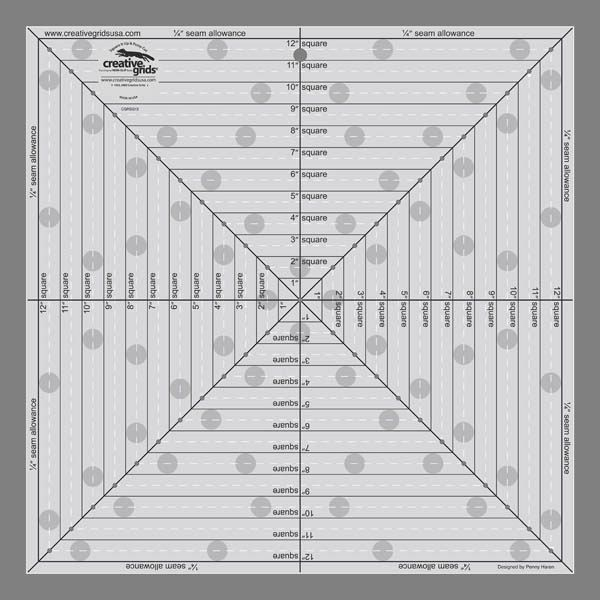 "Creative Grids 12 1/2"" Square It Up or Fussy Cut Square Ruler"