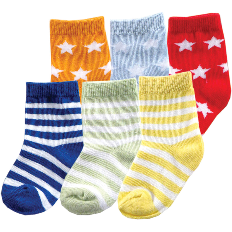 Luvable Friends Newborn Baby Boys Fun Stripe Combo Socks 6-Pack