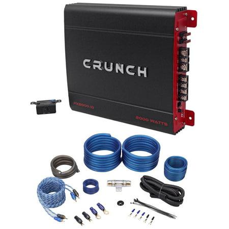 2000 Watt Mono Amplifier Amp (Crunch PX-2000.1D 2000 Watt Mono Powerful Car Audio Amplifier+Amp Wire)