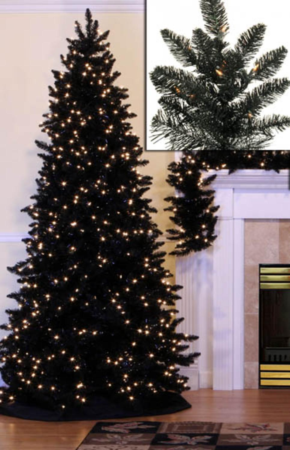 7.5' Pre-Lit Slim Black Ashley Spruce Artificial Christmas Tree - Clear Lights