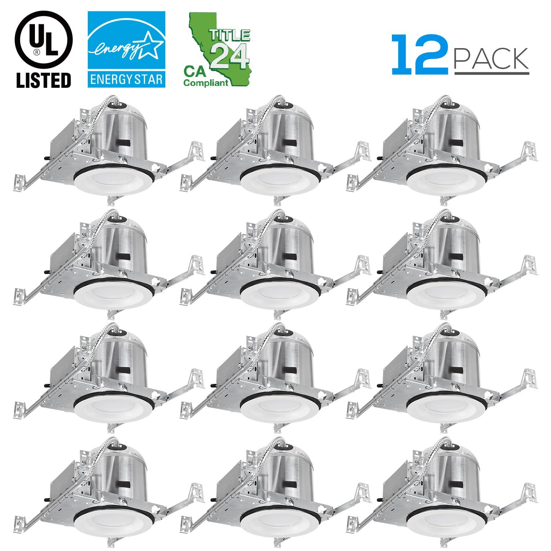 12 Pack 6 Inch LED Downlight Set, 2700K Soft White