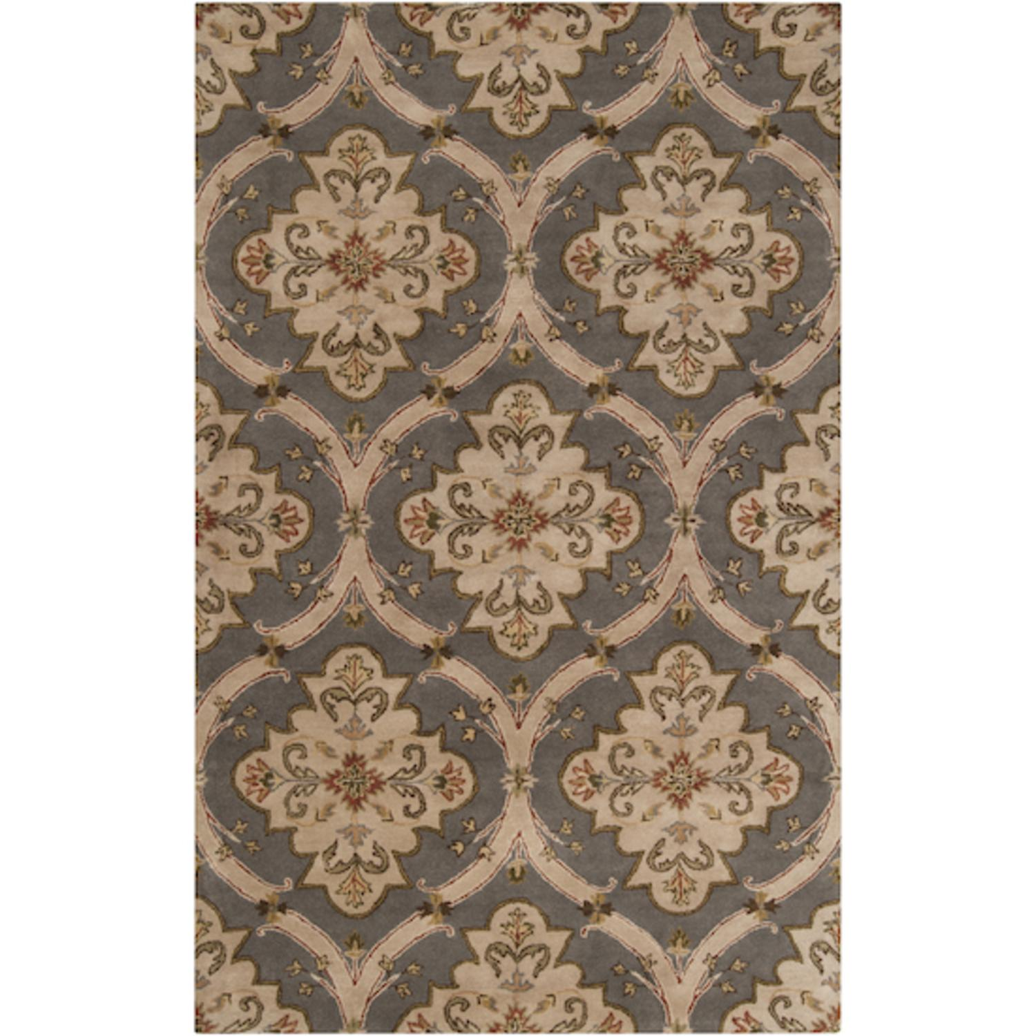 3' x 12' Dahlia Pinnata Elephant Gray and Dark Khaki Wool Area Runner Throw Rug