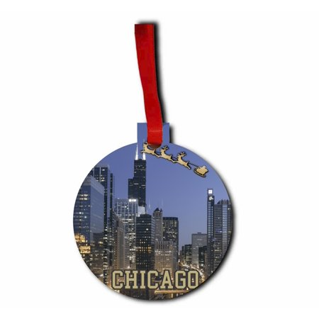 Santa and Sleigh Over Willis (Sears) Tower, Chicago Round - Shaped Flat Hardboard Christmas Holiday