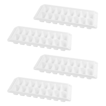 White Ice Cube Trays Easy Release Stackable Flexible Durable Non-Stick Freezer Treats Molds (4 Pack, 16 Cubes) - Glow Ice Cube