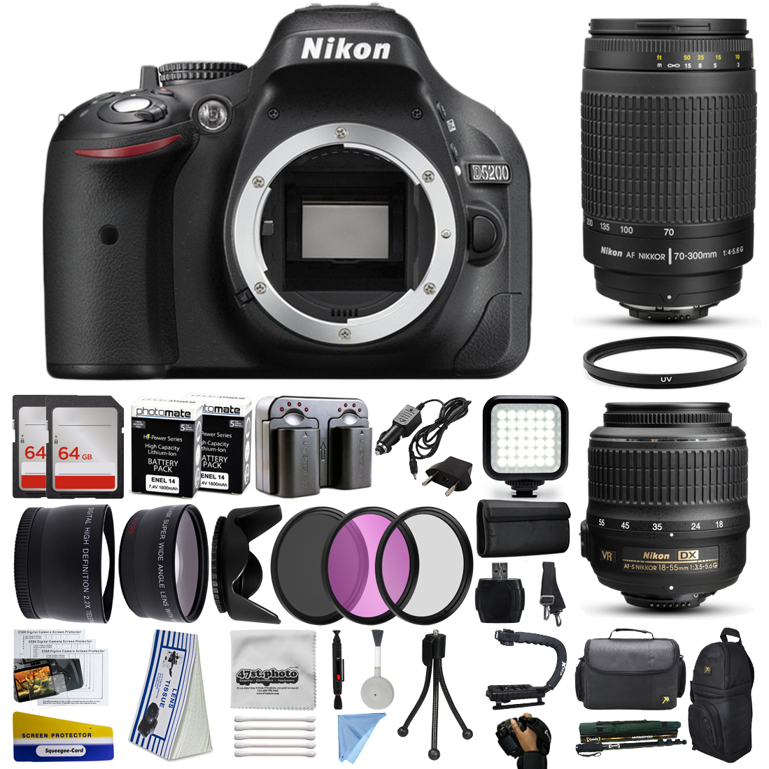 Nikon D5200 Dslr Digital Camera With 18 55mm Vr 70 300mm F 4 5 6g Lens 128gb Memory 2 Batteries Charger Led Video Light Backpack Case Filters Auxiliary Lenses More Walmart Com Walmart Com